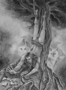 Odin pendu à Yggdrasil
